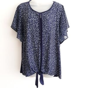 Navy and stars front tie blouse